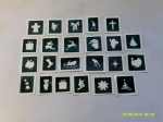 10 - 100 Christmas themed mini small stencils for etching on glass  Ideal for Fund raising,  hobby craft Santa snowman candy cane